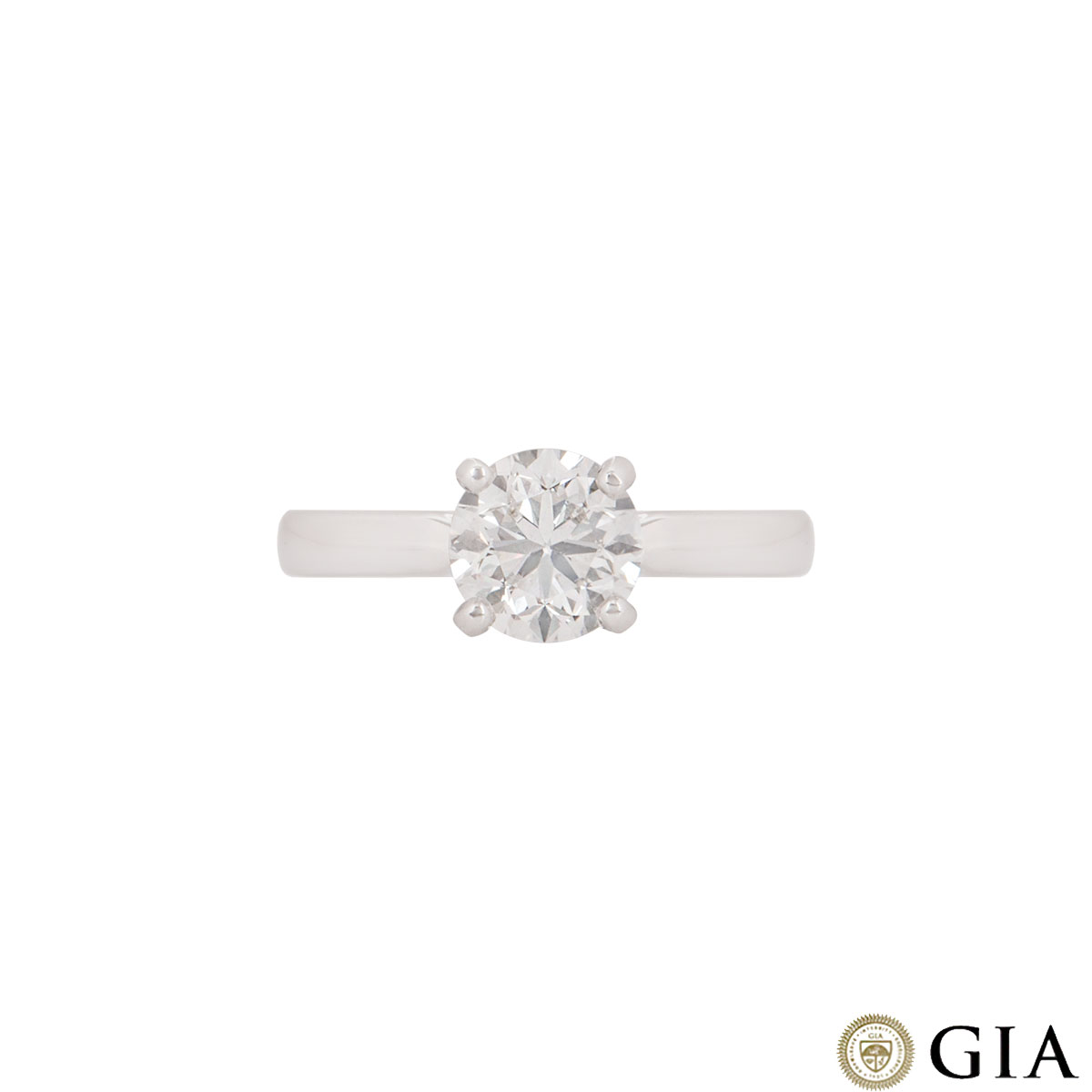 White Gold Round Brilliant Cut Diamond Ring 1.52ct G/VVS2
